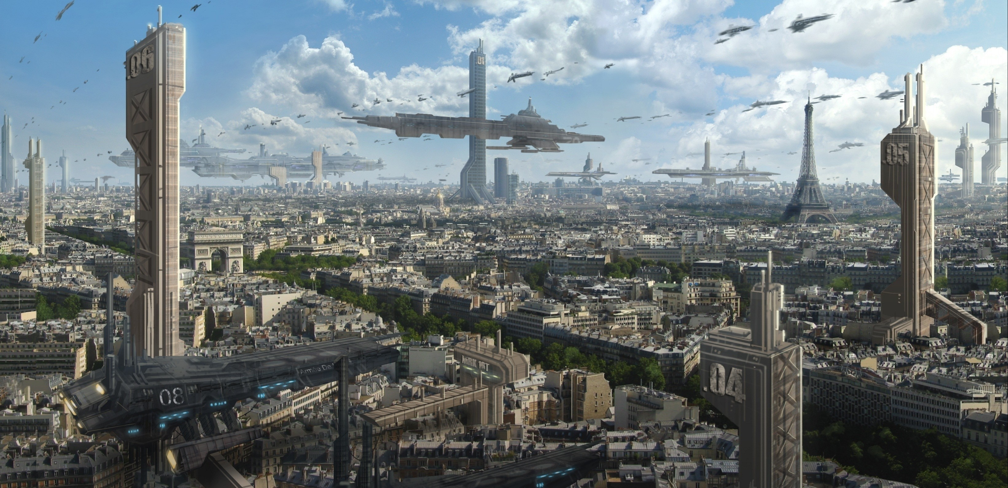 Science-Fiction Cultura Paris-futuristic-fantasy-art-science-fiction-cities-3283x1589-wallpaper